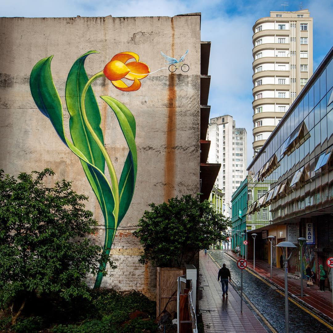 Soaring Murals of Plants on Urban Walls by Mona Caron