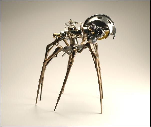 Christopher Conte metal microbotic sculpture spider
