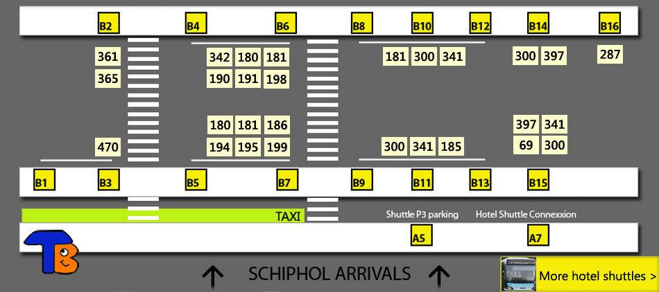 Остановки автобуса в аэропорту Амстердама - схема