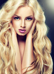 Blondy girl with long curly hair