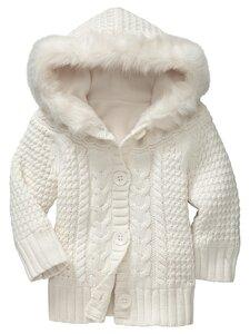 Косы в белых облаках - куртка спицами от GAP