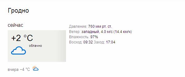 данные зарегистрированы в 00:00 на станции GRODNO, расположенной в 17 км от центра населенного пункта