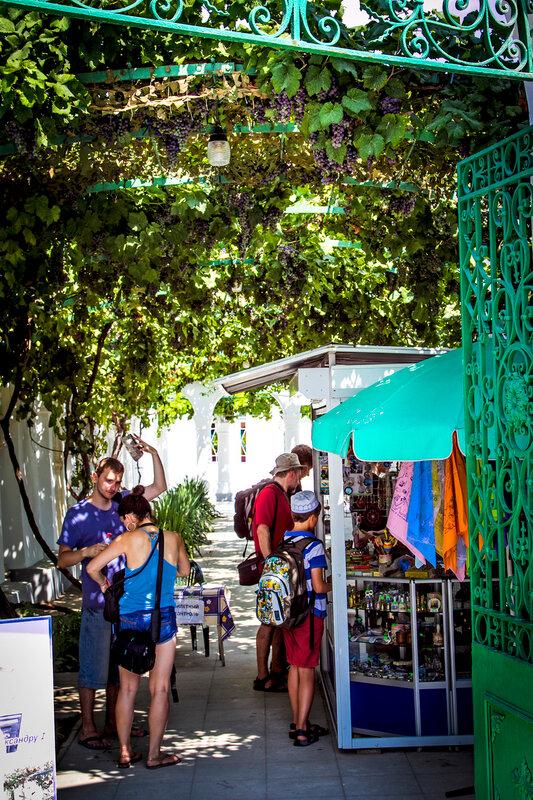 Караимские кенасы. Вход и виноградный дворик