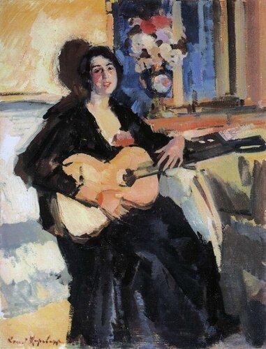 Константин Коровин. Девушка с гитарой