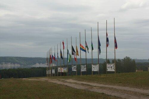 Историческая аллея флагштоков в День памяти Верных
