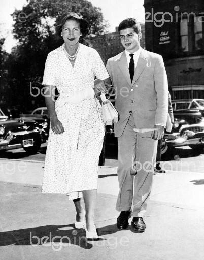8 September 1957 shows Prince Alexander with his mother Princess Lilian at Boston