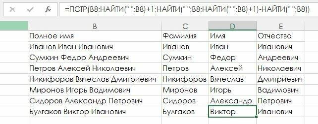 Рис. 4.14. Выделение имени, фамилии и отчества из строки