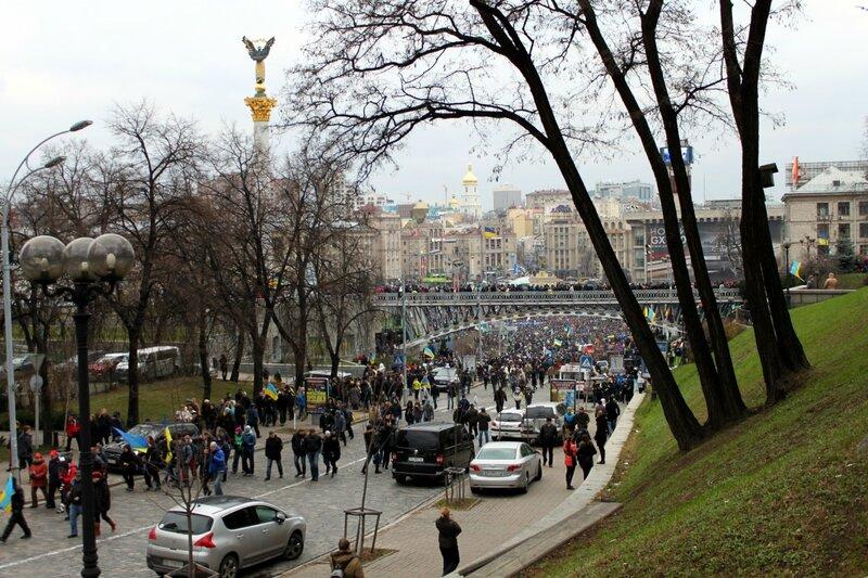 Институтская в районе Майдана Незалежности