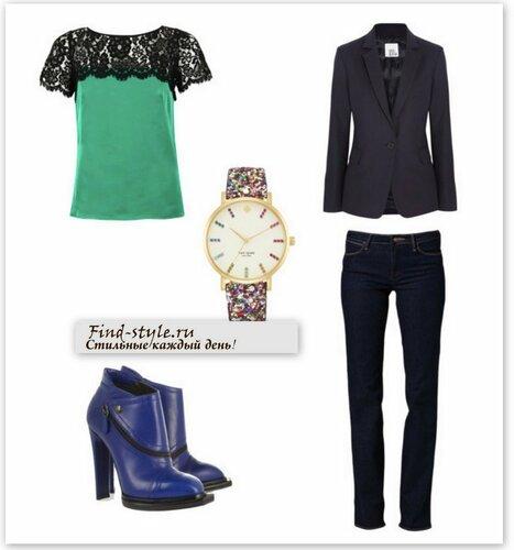 черный жакет, черный женский жакет, женские классические жакеты, джинсы с чем носить фото, пиджак с чем носить фото, синие ботильоны, топ с кружевным верхом,