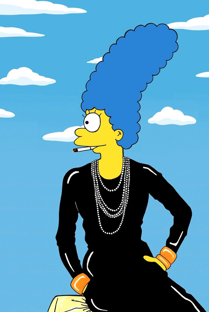 Marge Simpson as a Coco Chanel - Style Icons in aleXsandro Palombo illustrations
