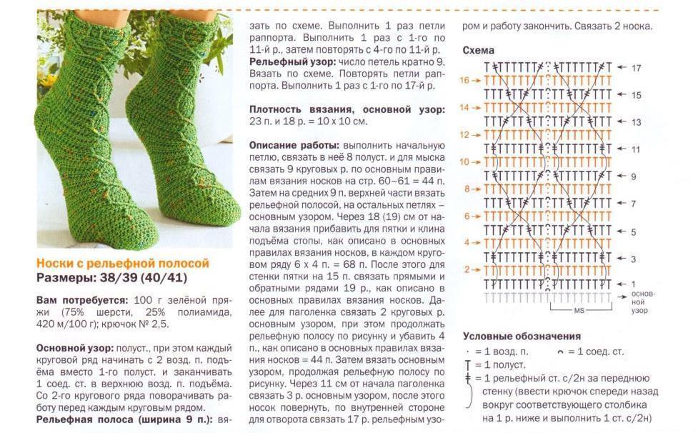 Вязания носков на 5 спицах схемы с описанием 349