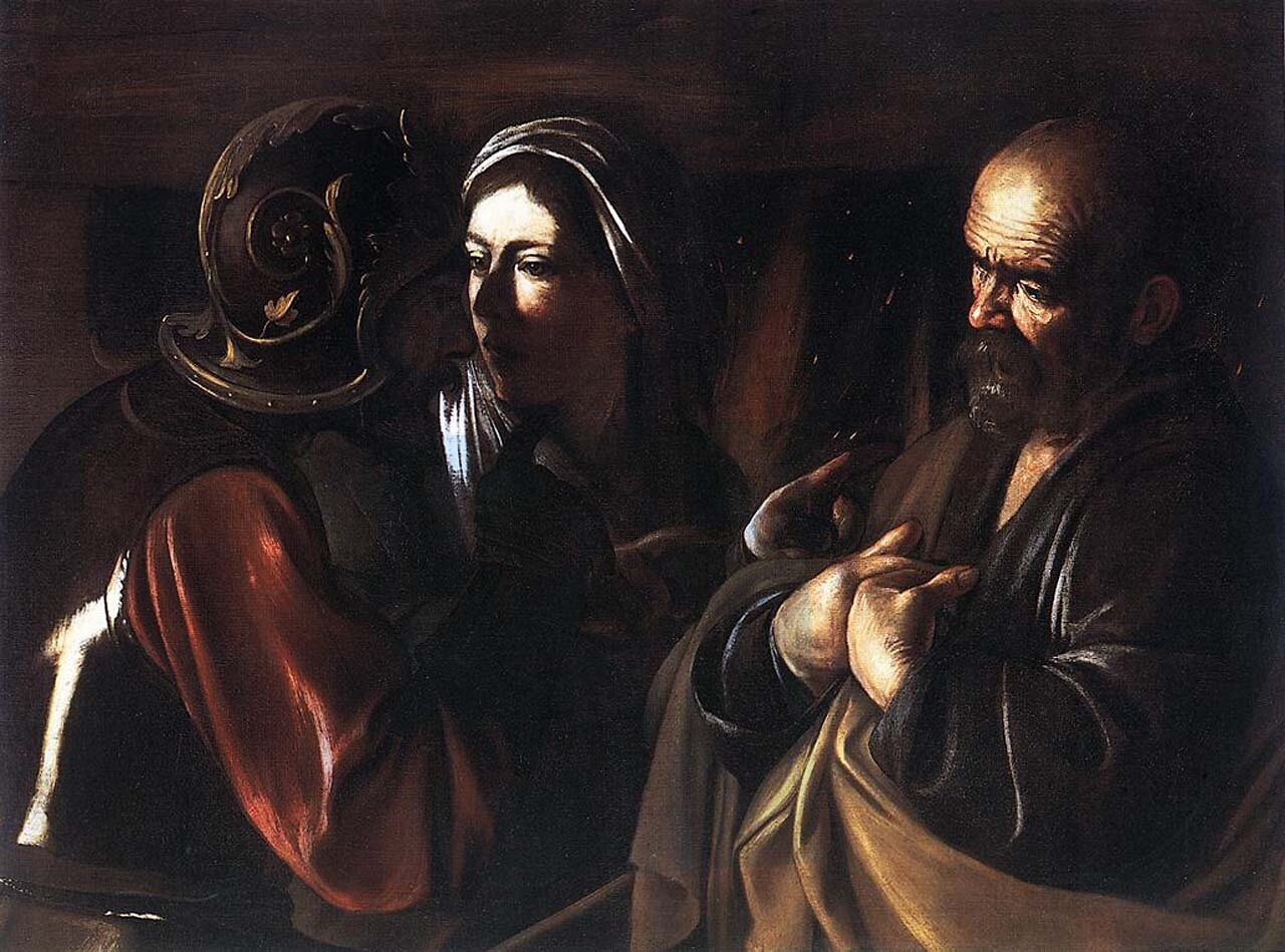 Караваджо, Пётр отрекается от Христа. около 1610г.The Denial of Saint Peter