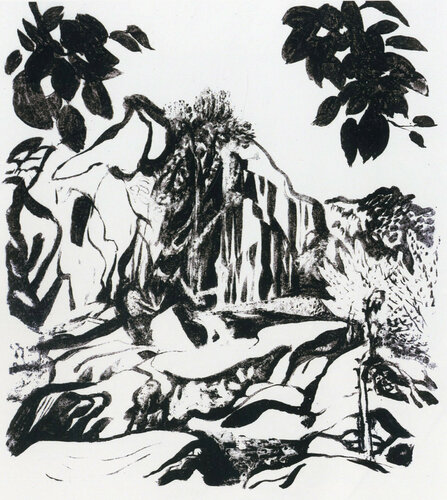 Водопад в Шидзе, Памир. Бумага, тушь. 1972.jpg
