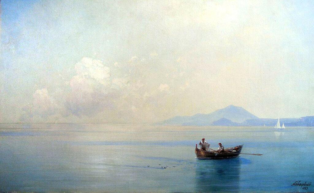 Штиль. Морской пейзаж с рыбаками. 1887.jpg