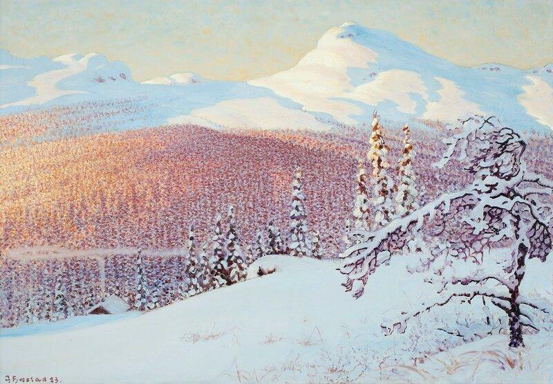 Gustaf Fjaestad. Зимний пейзаж. 1923.jpg