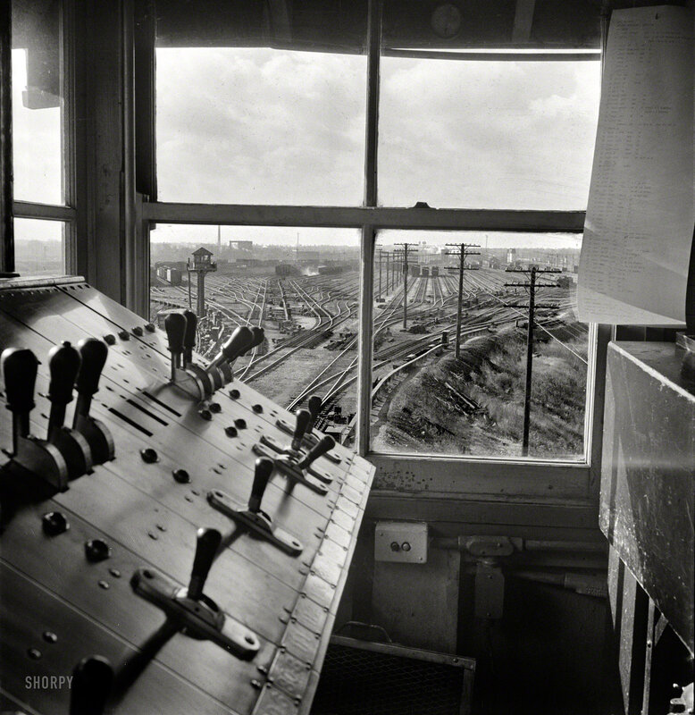 November 1942. 'Chicago, Illinois. South classification yard seen from retarder operators' tower at an Illinois Central Railroad yard.'