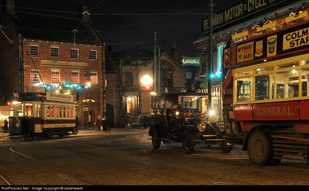 Tram and omnibus, Beamish museum, Durham, United Kingdom. December 17, 2010