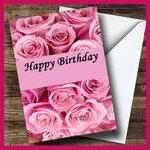 Розовые розы. С днем рождения !