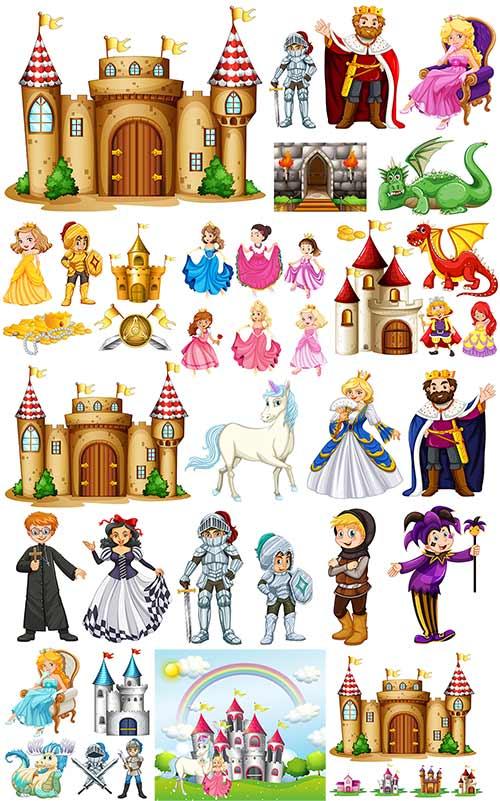 Сказочные принцессы и замки в векторе / Fairy-tale princesses and locks in vector