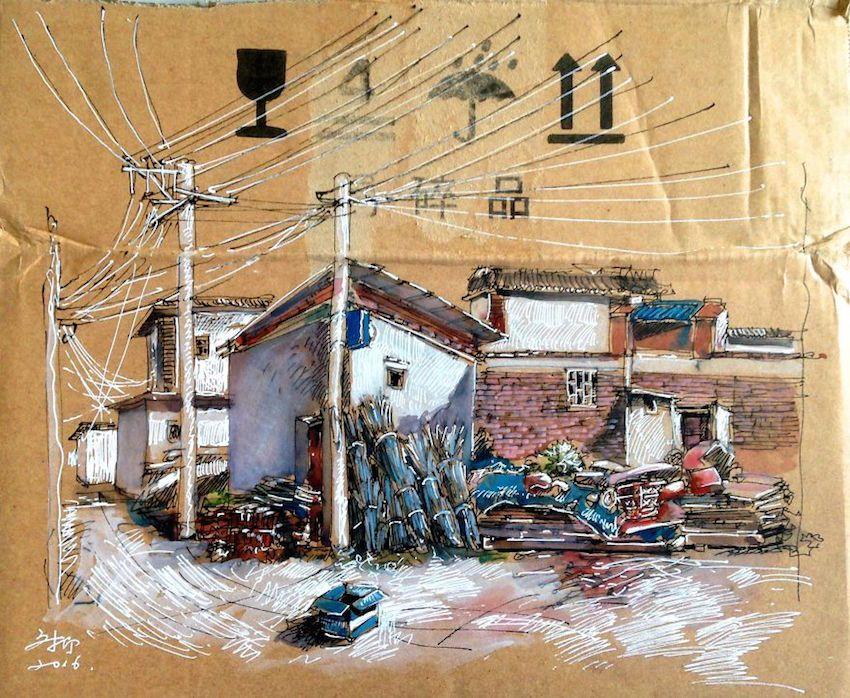 Os desenhos deixados em locais publicos por Wenyi