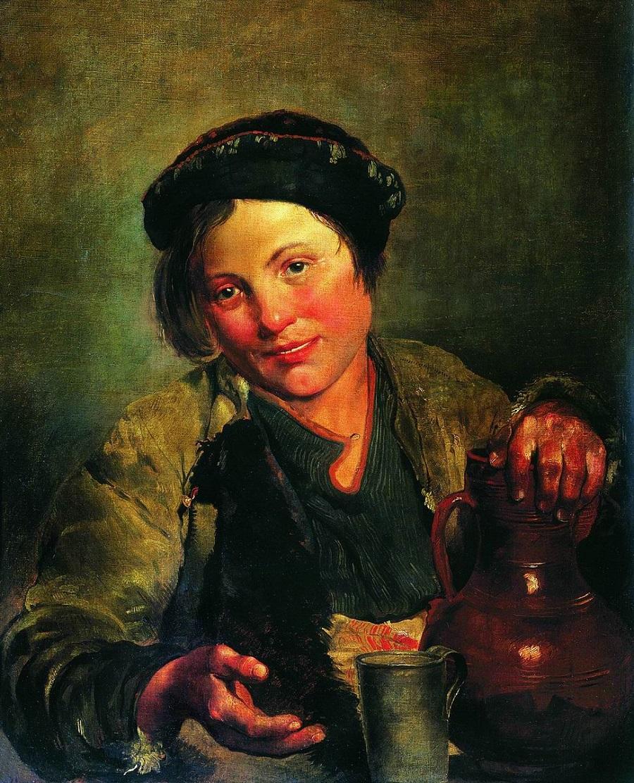 Мальчик, продающий квас. 1861  Государственная Третьяковская галерея, Москва.