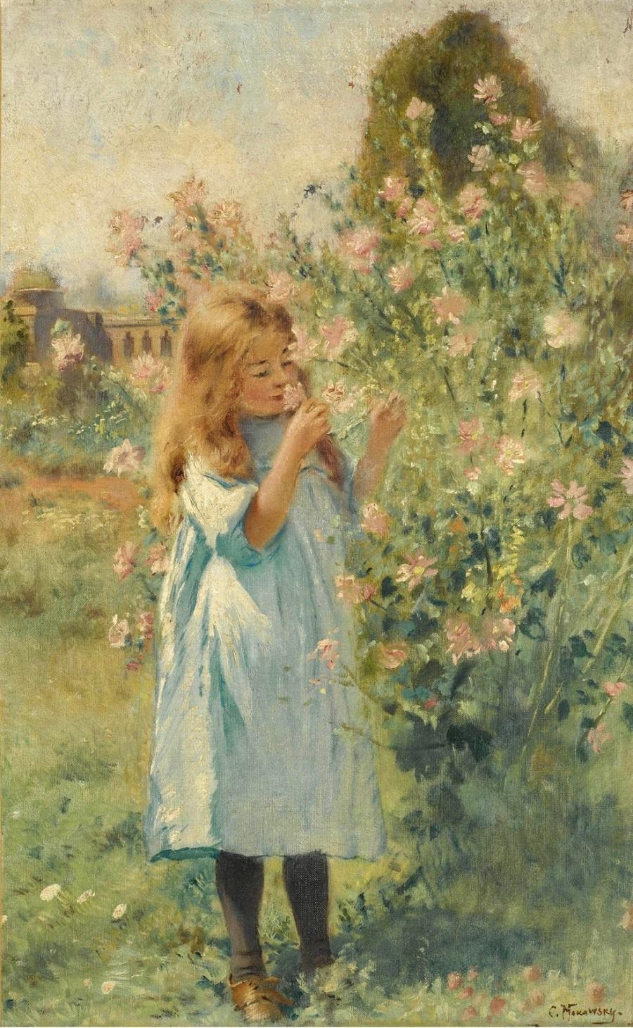 Девушка, нюхающая цветы Частное собрание.