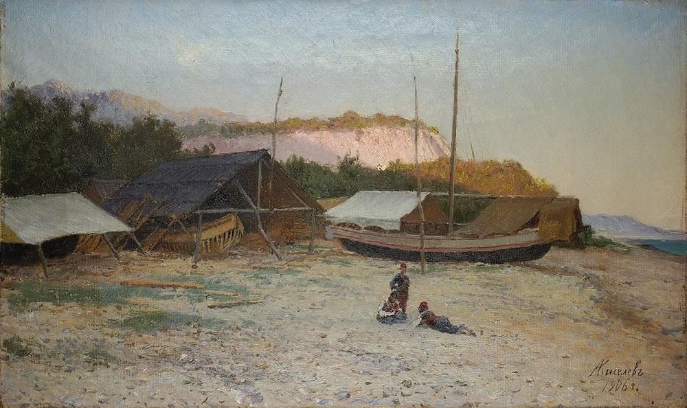 У постройки лодок. 1906 г. Холст, масло. 26 х 44,5 см.jpg