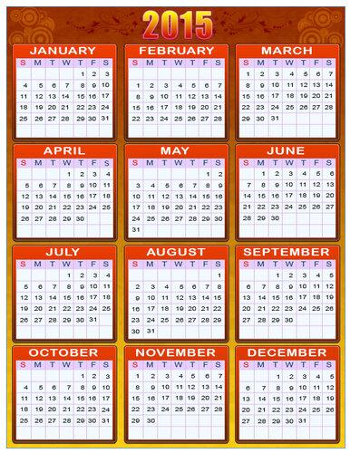 Календарь 2015 г. Красно-желтый. calendar 2015 открытка поздравление картинка
