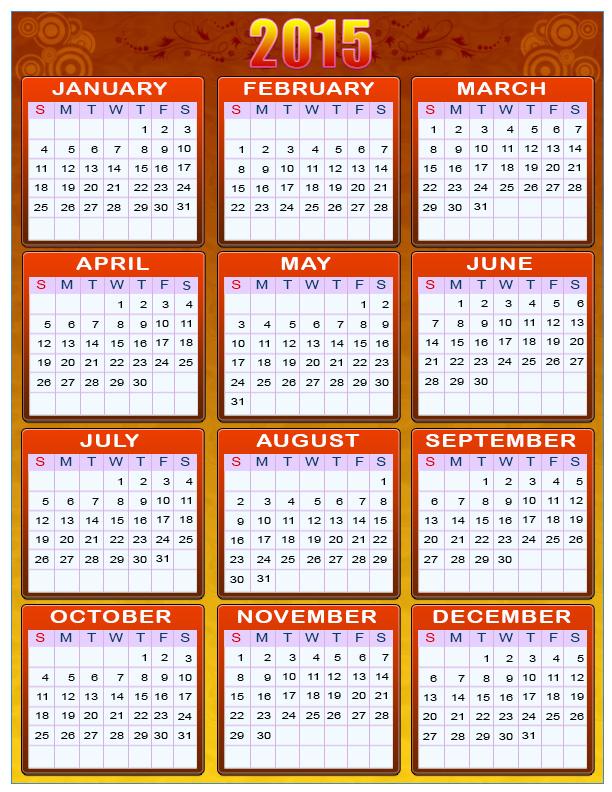 Вам открытка: Календарь 2015 г. Красно-желтый. calendar 2015 фото картинка поздравление скачать
