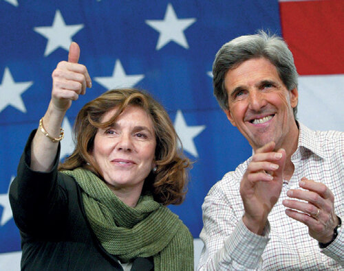The making of a campaign spouse: Heinz Kerry stumped for her husband in New Hampshire. Getty