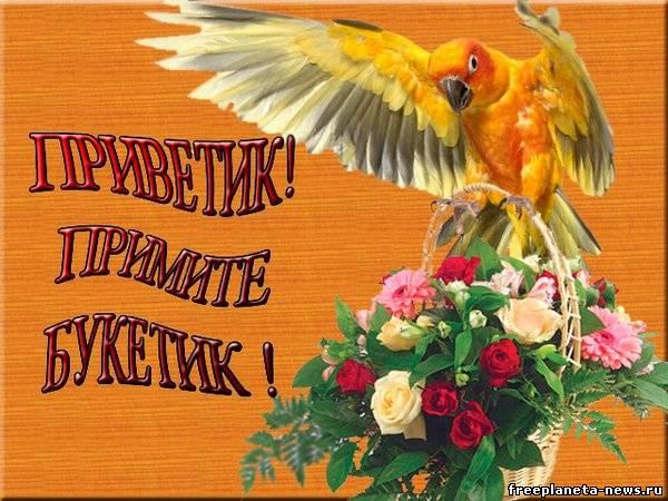 Открытки. Международный день приветствий. Букетик