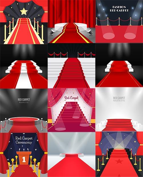Красный ковёр на сцену - Вектор / Red carpet on stage - Vector