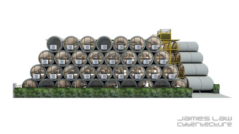 Incredible Concrete Tubes Appartments Concept