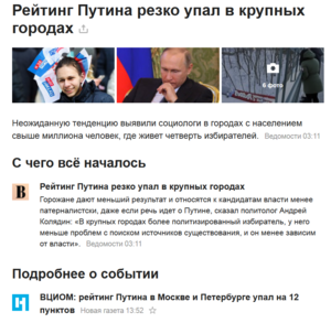 Скриншот страницы Яндекса 7-го марта 2018-го,за 11 дней до выборов президентаРейтинг Путина резко упал в крупных городах.Ссылка https://news.yandex.ru/yandsearch?cl4url=www.vedomosti.ru/politics/articles/2018/03/07/752953-reiting-putina&lang=ru&from=main_portal&stid=X4ogKm01cNfjBFMmO92w&t=1520420031&lr=195&msid=1520420305.92186.22879.20252&mlid=1520420031.glob_225.2302321d