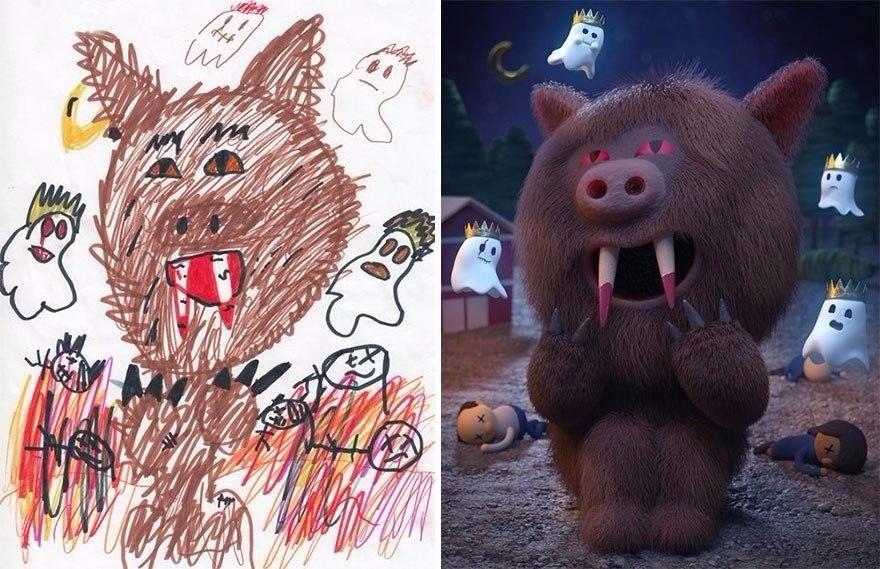 """Разные художники """"оживили"""" детские рисунки, каждый – в своём стиле"""
