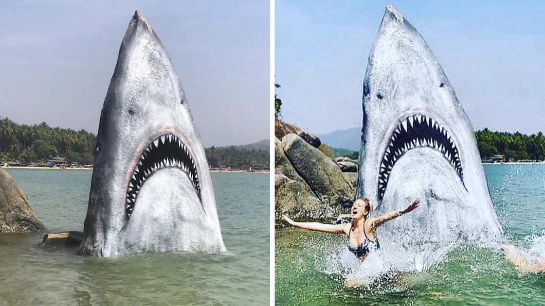 Jaws – This artist turns a simple rock into a fierce shark (5 pics)