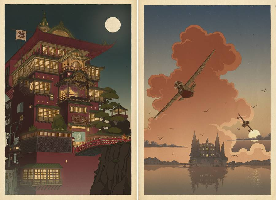 Studio Ghibli Characters in Vast Landscapes