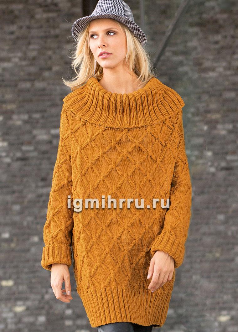 Удлиненный пуловер со сплошным узором из ромбов с косами. Вязание спицами