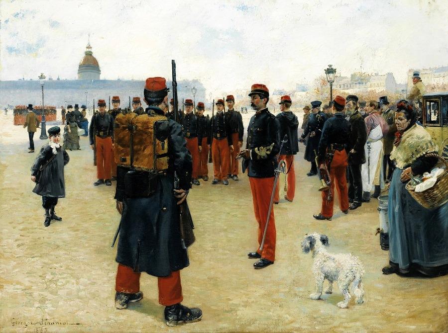 ELÈVES CAPORAUX SUR L'ESPLANADE DES INVALIDES À PARIS, 1883