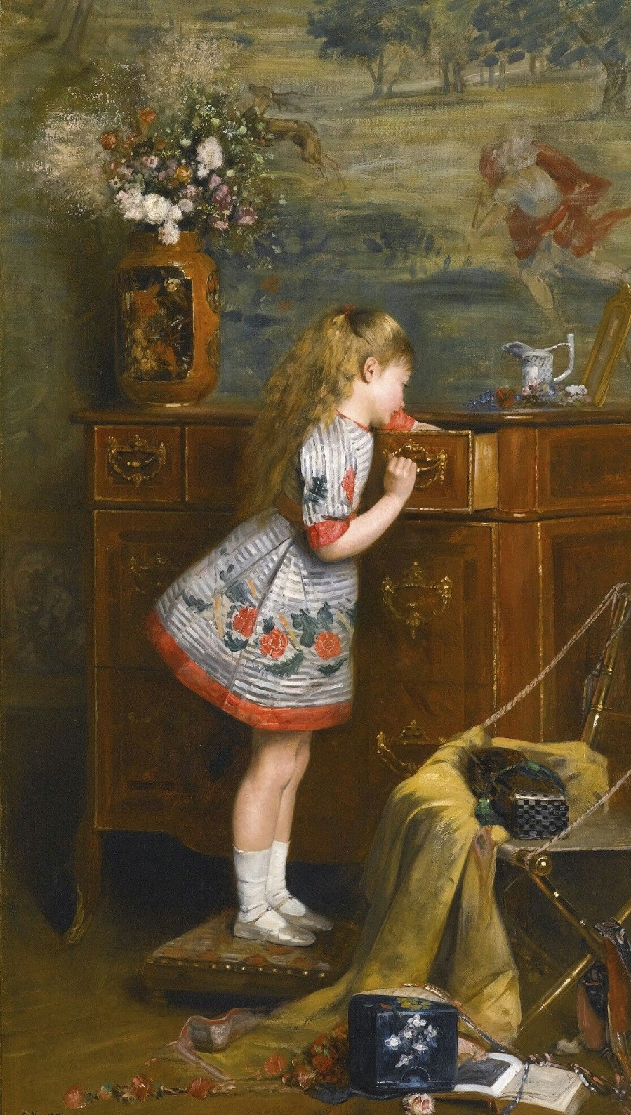 A narrative study showing a young girl climbing on a stool to look into a drawer
