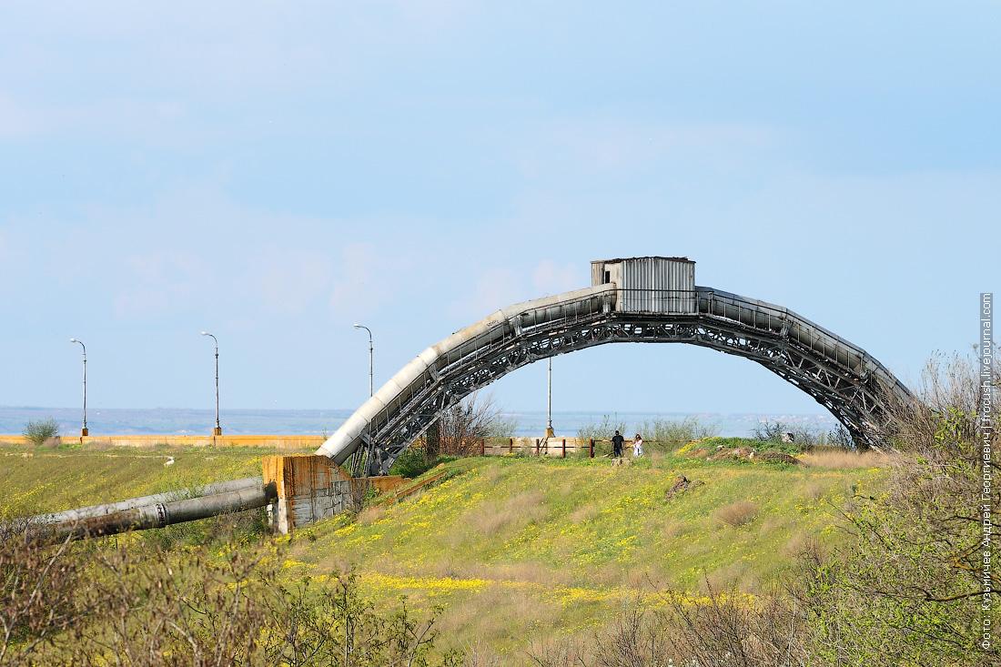 Арка трубопровода водозабора над дорогой к шлюзу №14
