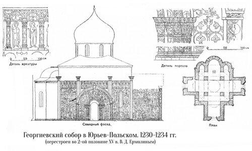Георгиевский собор в Юрьев-Польском, чертежи, детали, декор