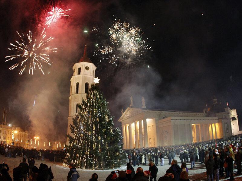 Новогодний салют в Вильнюсе