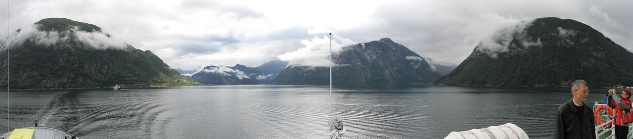 Norway, Nordalsfjorden, Ferry. Норвегия, Нордалсфьорден, паром,  panorama