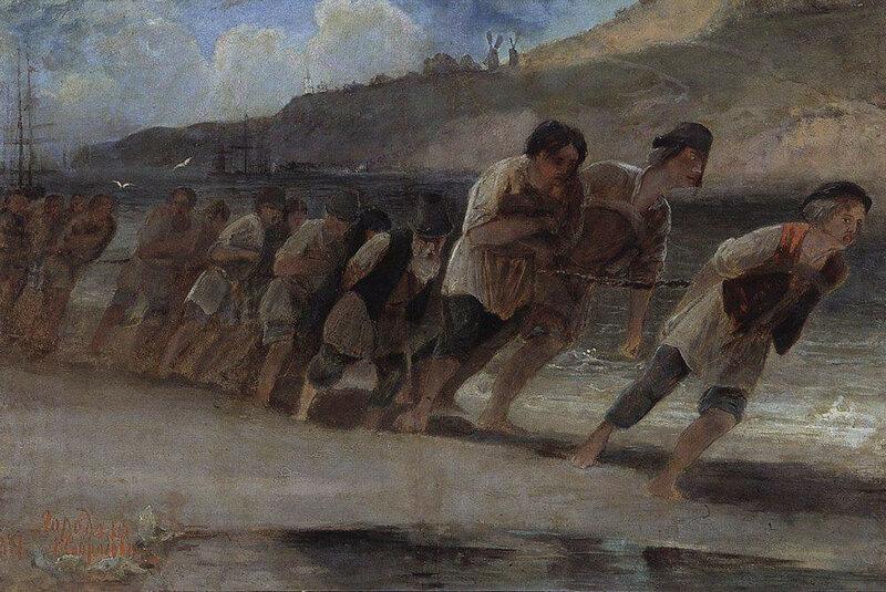 А. Саврасов. Бурлаки на Волге. 1871