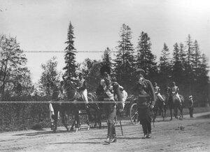 Приезд императора Николая II и великого князя Михаил Александровича на храмовый праздник  Конно-гренадерского полка .
