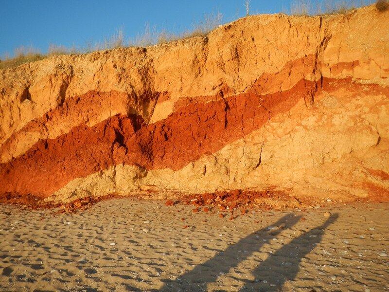 Обнажение разноцветной глины в берегу моря в Любимовке