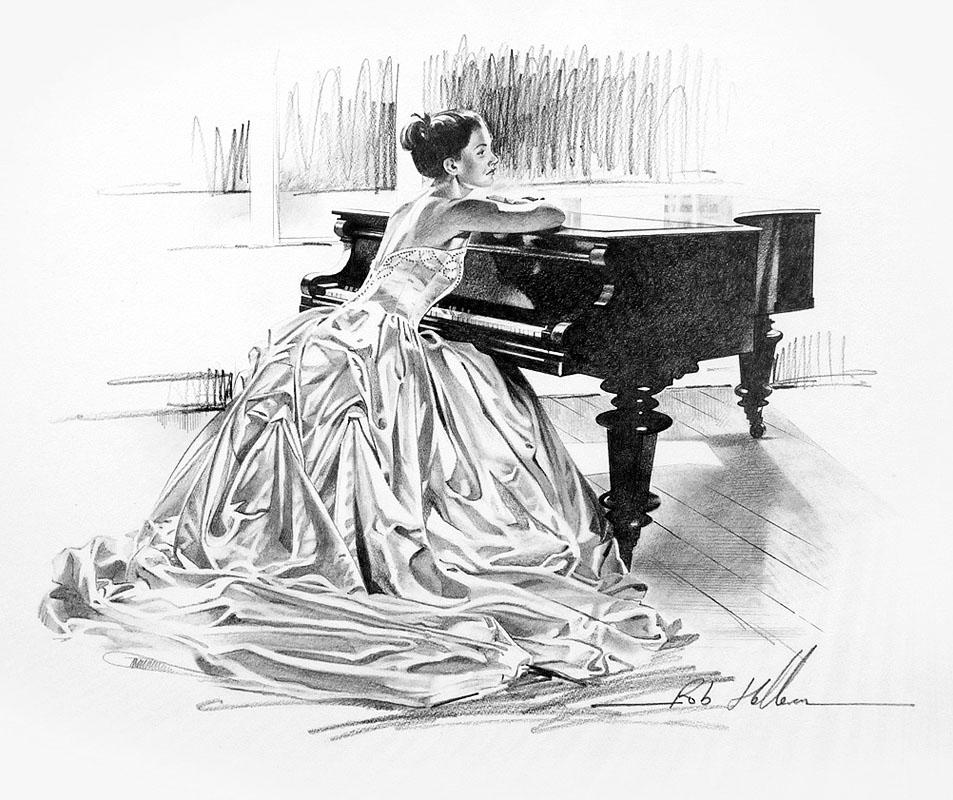 Открытки девушки за пианино