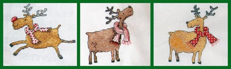 Олени новогодние схема для вышивки