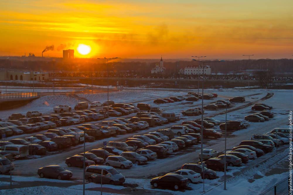 Single photo. Зимний городской закат